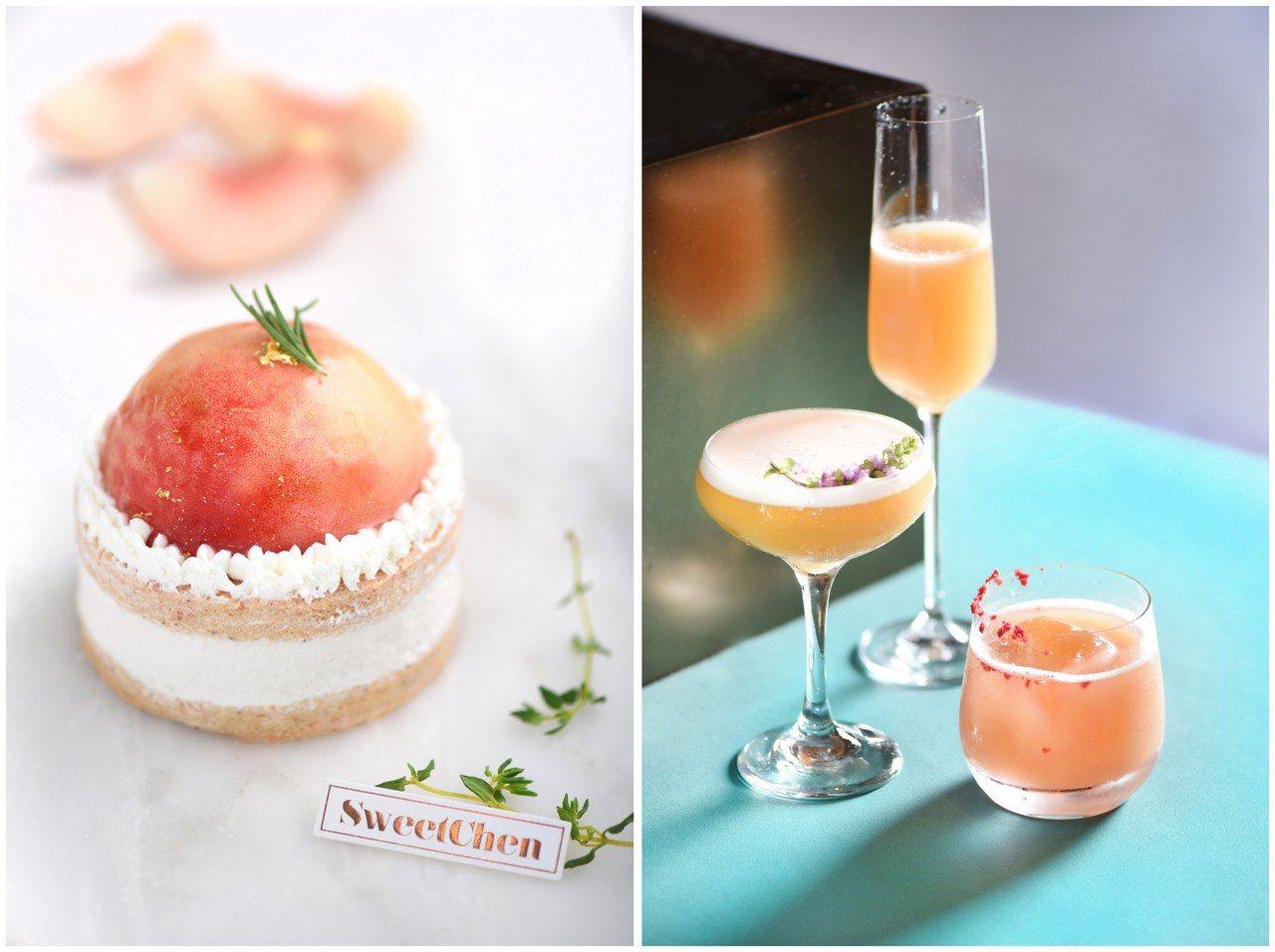 桃醉星際下午茶(左起)水蜜桃香緹、三款蜜桃調酒。圖/W飯店提供  提醒您:禁止...