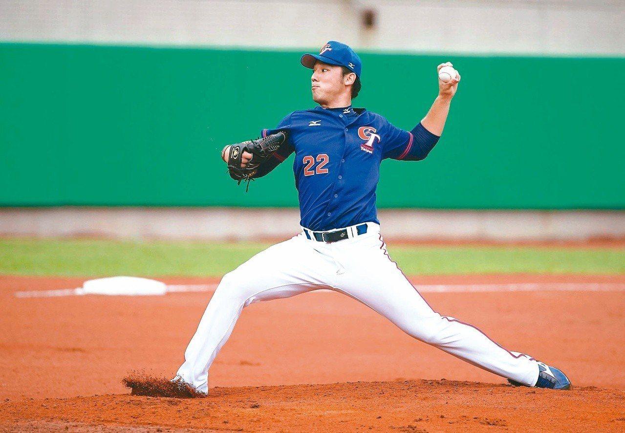林安可在世大棒首度以投手身分出賽。 圖/中華棒球協會提供