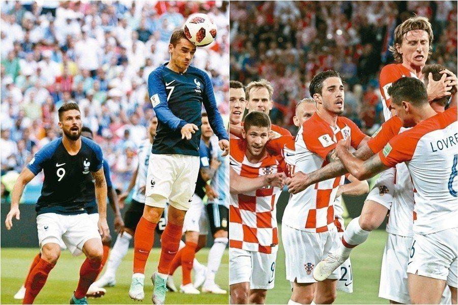 爭冠戰袍出爐,克羅埃西亞與髮國將各自穿上經典的海軍藍、格子裝球衣。 美聯社