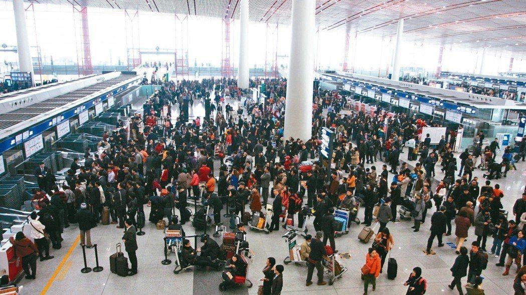 北京首都國際機場去年旅客人數達9,578萬人次。 報系資料照