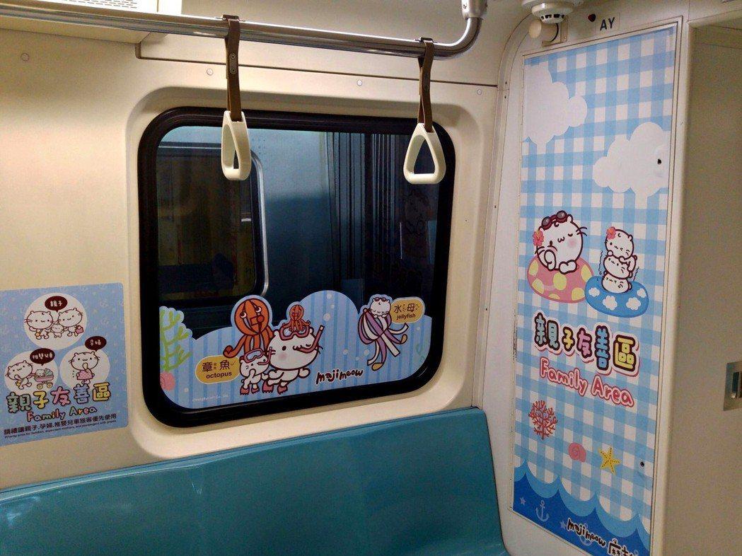 台北捷運公司暑期在淡水信義線推出「海底世界親子彩繪列車」,並將列車第3節車廂第4...