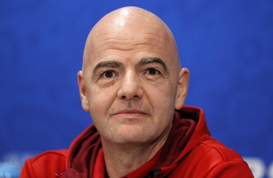 國際足球總會(FIFA)主席英凡提諾。 歐新社