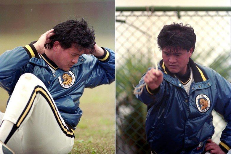 1992年,中韓兩職棒聯盟舉辦「中韓職棒雙虎會」,為首次與韓國職棒進行交流。圖為春節過後,翁豐堉選手展開訓練畫面。 圖/聯合報系資料照