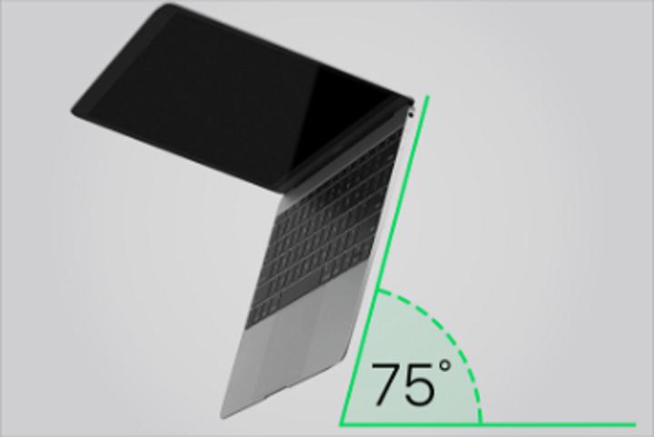 若遇到有按鍵沒有反應,先將Mac筆記型電腦抬起,並呈75度角。圖擷自蘋果官網