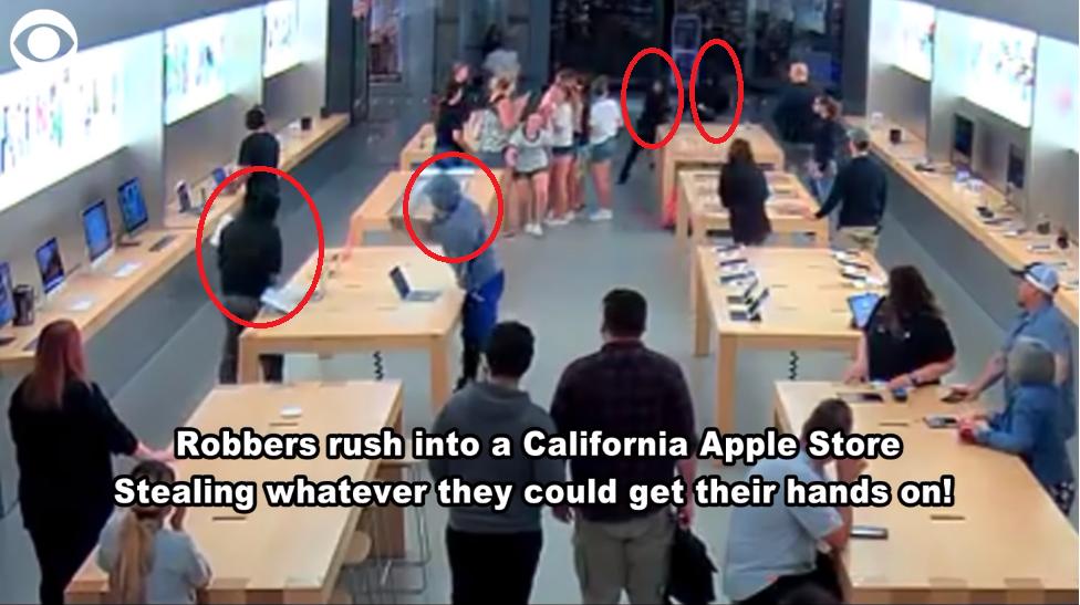 4名搶匪在光天化日之下闖入蘋果專賣店,徒手在30秒內搶走總價值台幣83萬元產品,...