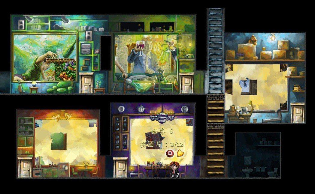 遊戲裡面,每個關卡都需要收集拼圖,收集齊全拼出每大關的圖案之後,才能夠開啟通往隱...