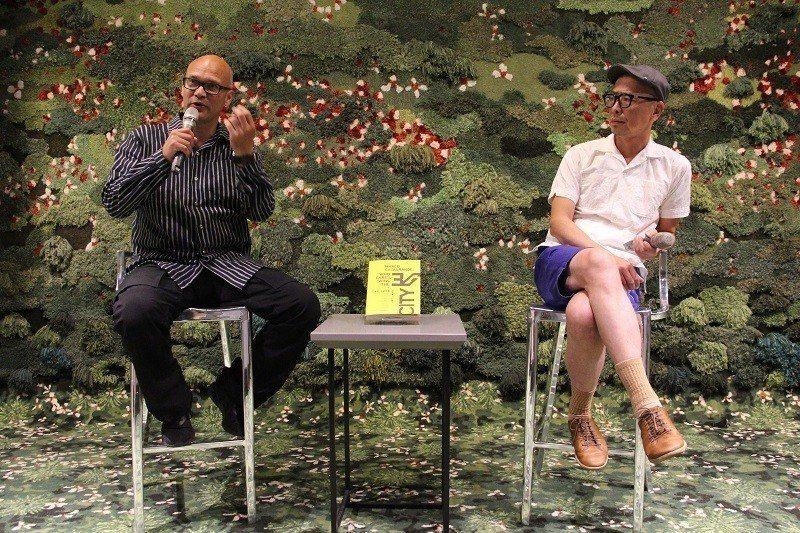 7月7日 建築師馬可‧卡薩格蘭與多年好友阮慶岳暢談專書(左起馬可‧卡薩格蘭建築師
