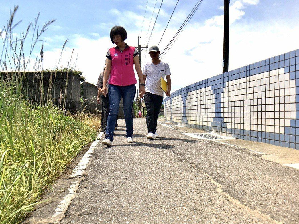 金山區中角國小校園周邊道路,路幅狹小,常常會有家長不留心就將車開到一旁的田地裡去...