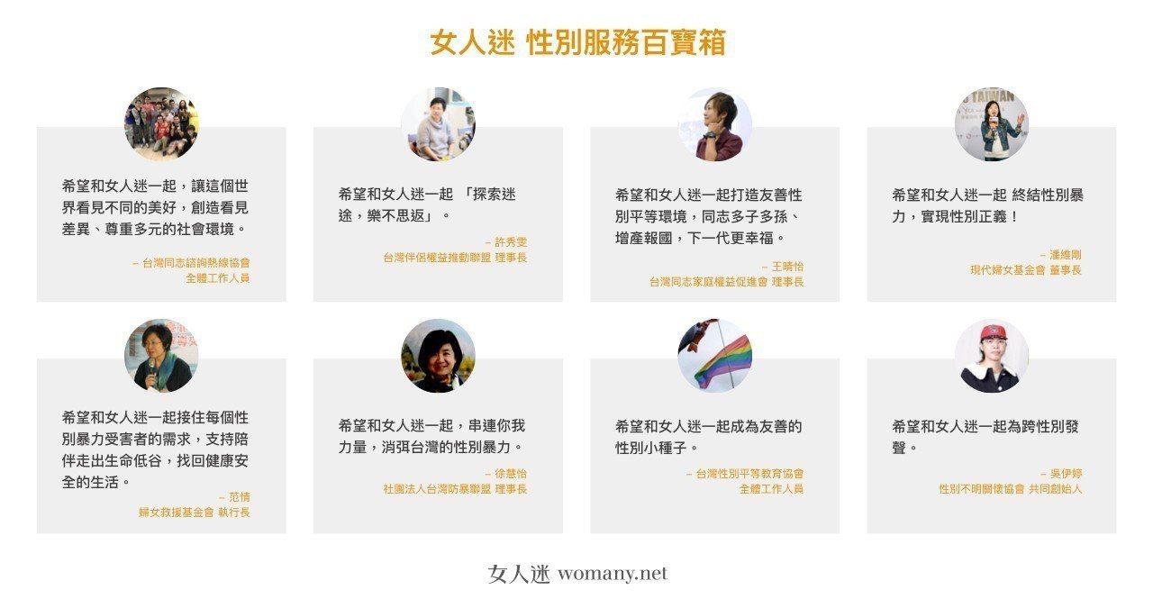 女人迷的性別服務百寶箱上線,將國內多個團體的服務資源整合在一個頁面。圖/女人迷提...