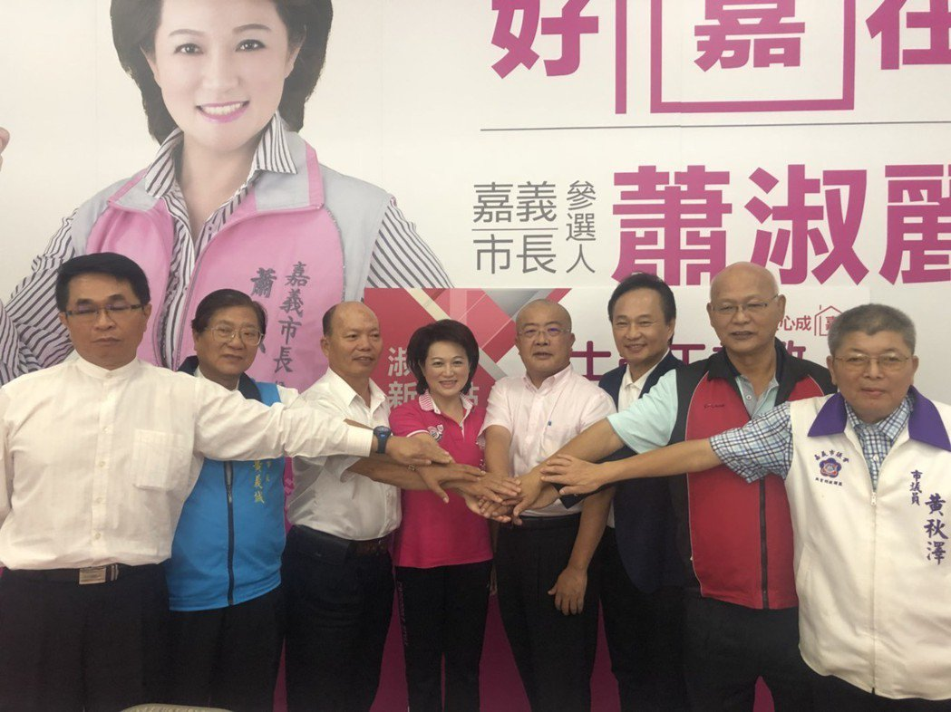 蕭淑麗(左四)邀集工商團體代表為她站台,她說,政黨奧援、大選區經驗根本不是勝選必...
