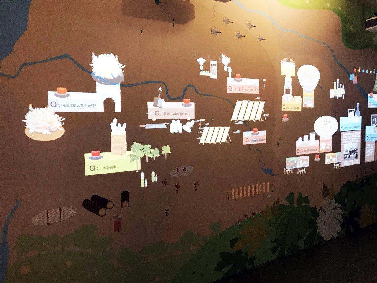 「不老城市區」有科技互動牆面,民眾可按下牆面按鈕,更了解新竹歷史。記者郭宣彣/攝...