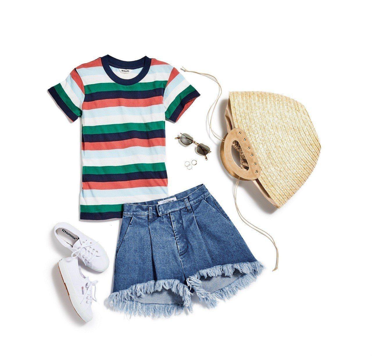 擺脫夏日無聊穿搭,利用小技巧讓牛仔短褲時髦感飆升。圖/SHOPBOP提供