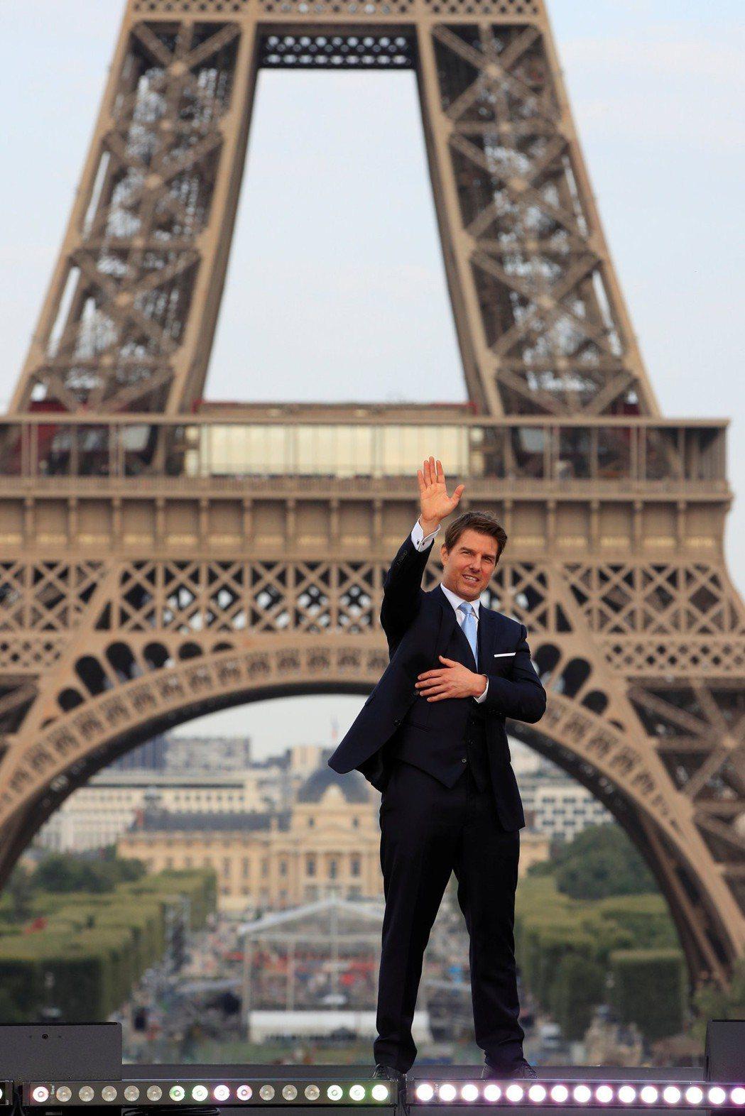 湯姆克魯斯出席「不可能的任務:全面瓦解」巴黎首映會。(路透)