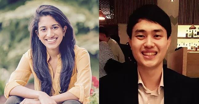 賓州大學學生Elston與妻子Pratyusha。 世界日報記者/謝哲澍翻攝