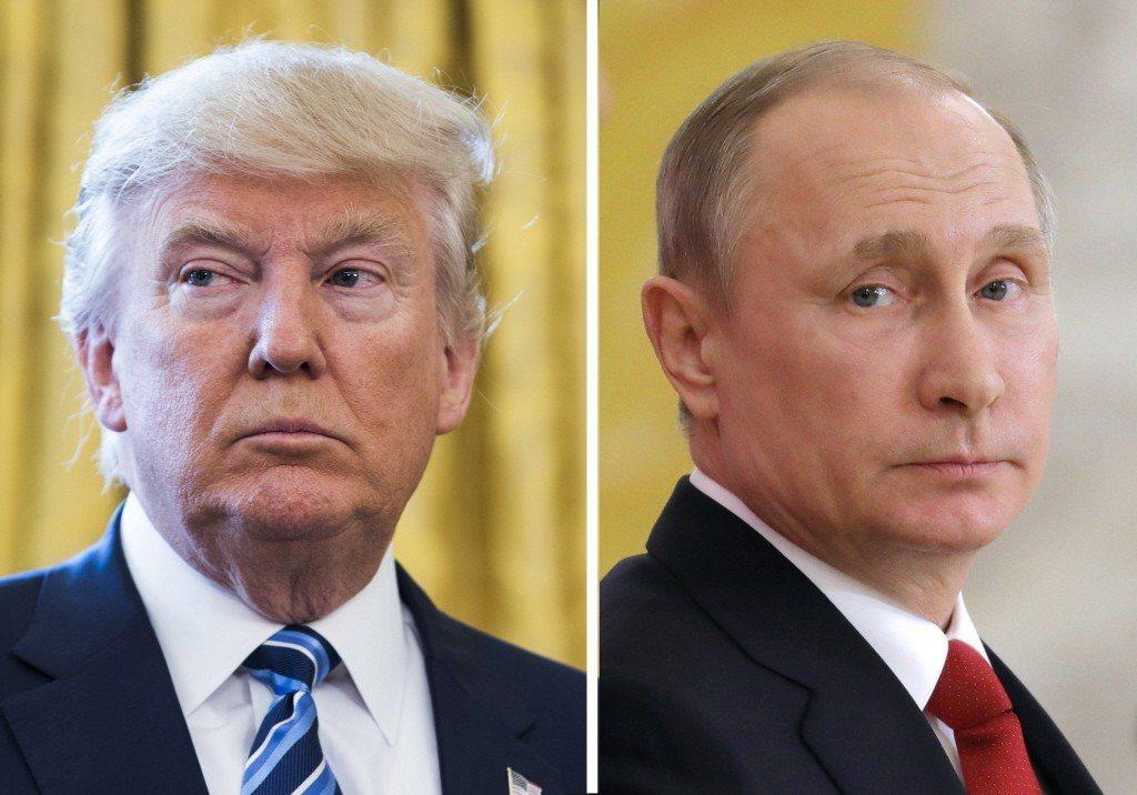 美國總統川普(右)和俄羅斯總統普丁。歐新社