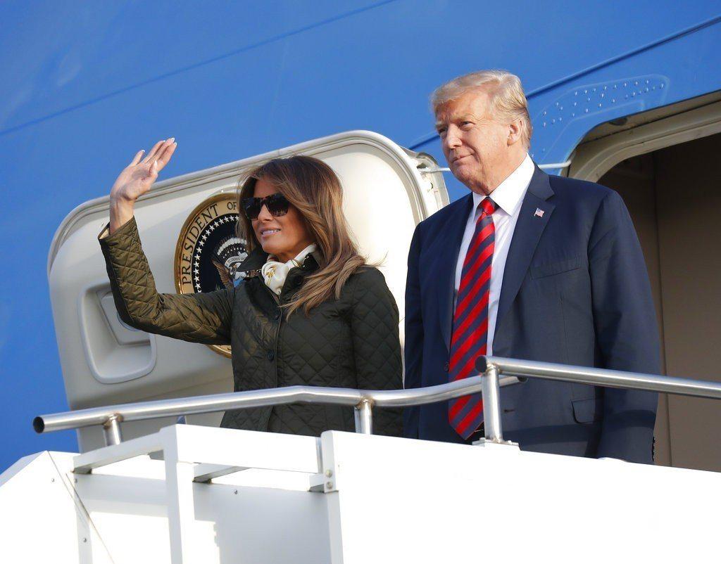 美國總統川普和美國第一夫人梅蘭妮亞。 美聯社