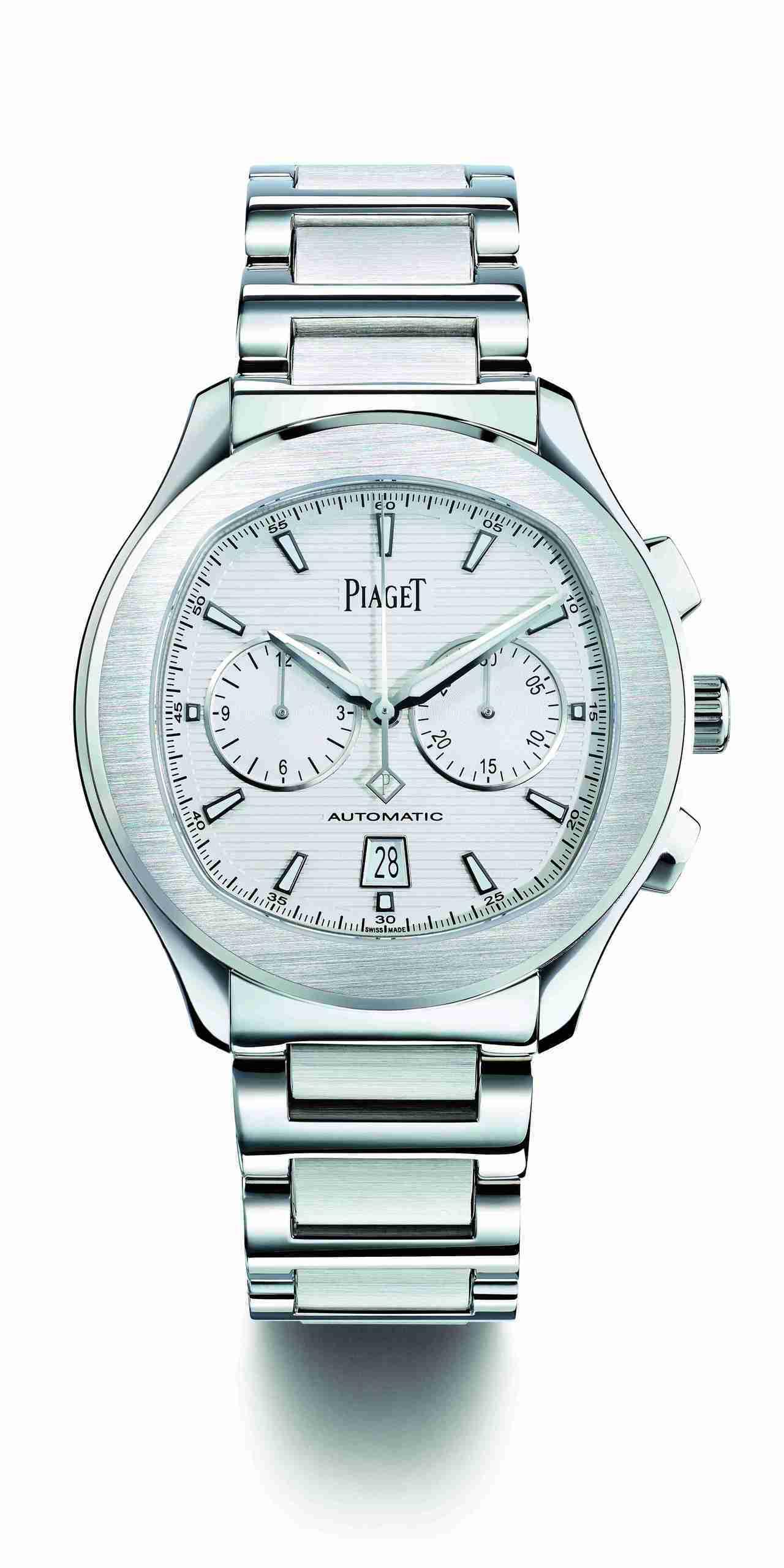 王鶴棣配戴的Piaget Polo S 計時腕表,42 毫米精鋼表殼、伯爵製11...