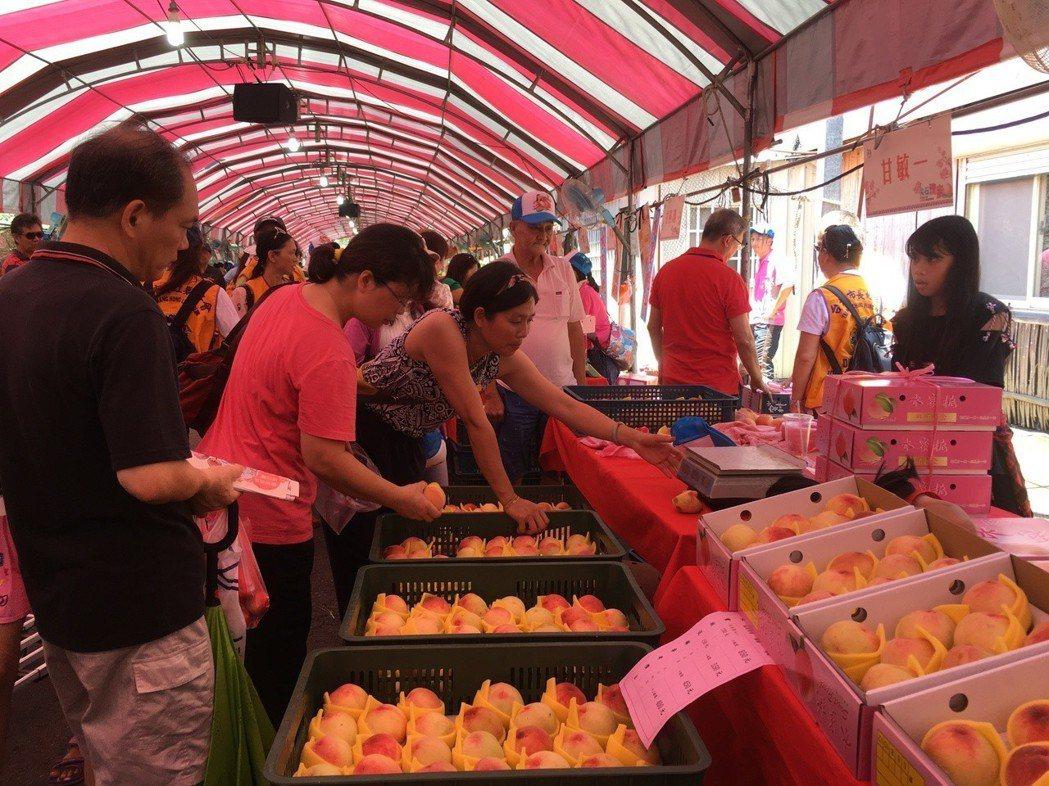 因天氣好,大批遊客前往尖石旅遊避暑順便採買最新鮮的水蜜桃,現場60個水蜜桃、農特...
