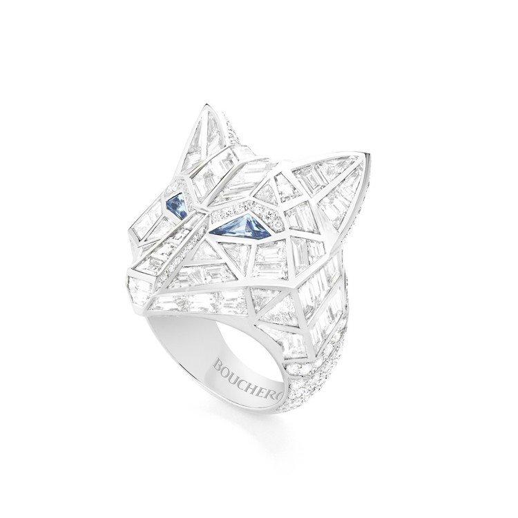 温貞菱配戴寶詩龍動物系列 Loup雪狼戒指,白金鑲嵌總重10.99克拉鑽石與藍寶...