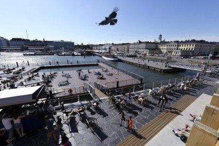 芬蘭總統府前方為一處碼頭。 (路透)