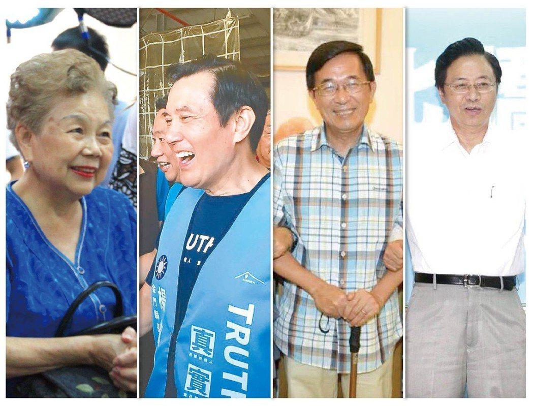柯媽、馬英九、陳水扁、張善政是「2018超級助選員」。 圖/聯合報系資料照片、取...