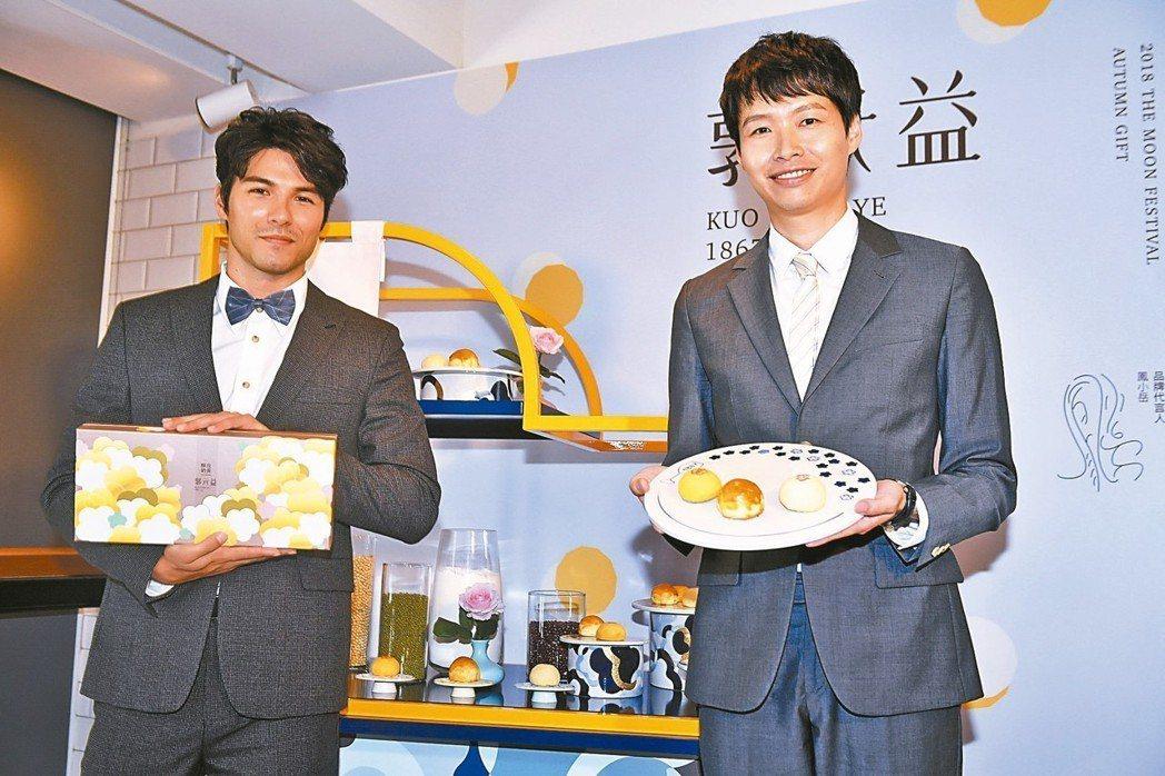 郭元益代言人鳳小岳(左)。郭元益副總經理郭建偉(右)。 圖/郭元益
