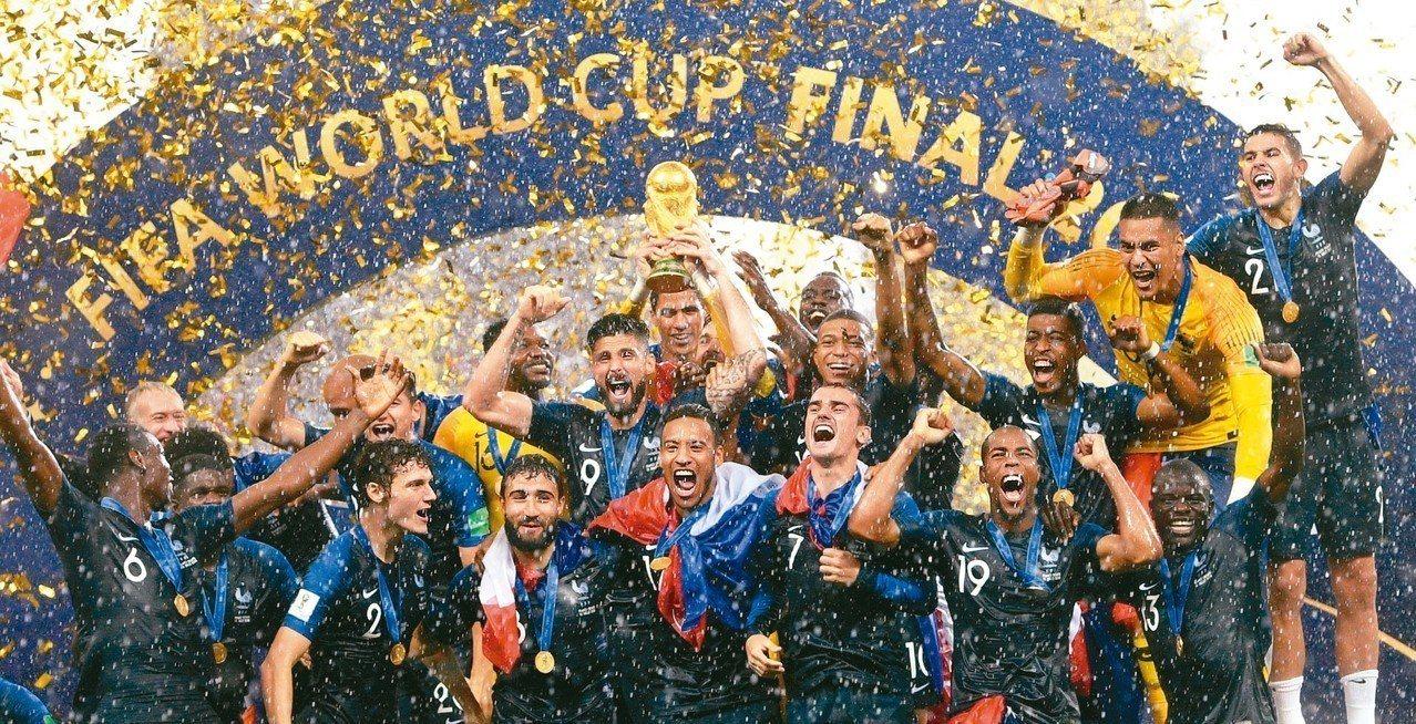 法國今天在世足賽勇奪隊史第二冠,全隊欣喜若狂。 歐新社