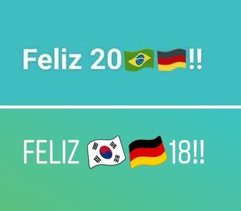 克魯斯嘲諷巴西慘敗的畫面,網友同樣以德國敗給南韓的圖案回敬。 圖/取自網路