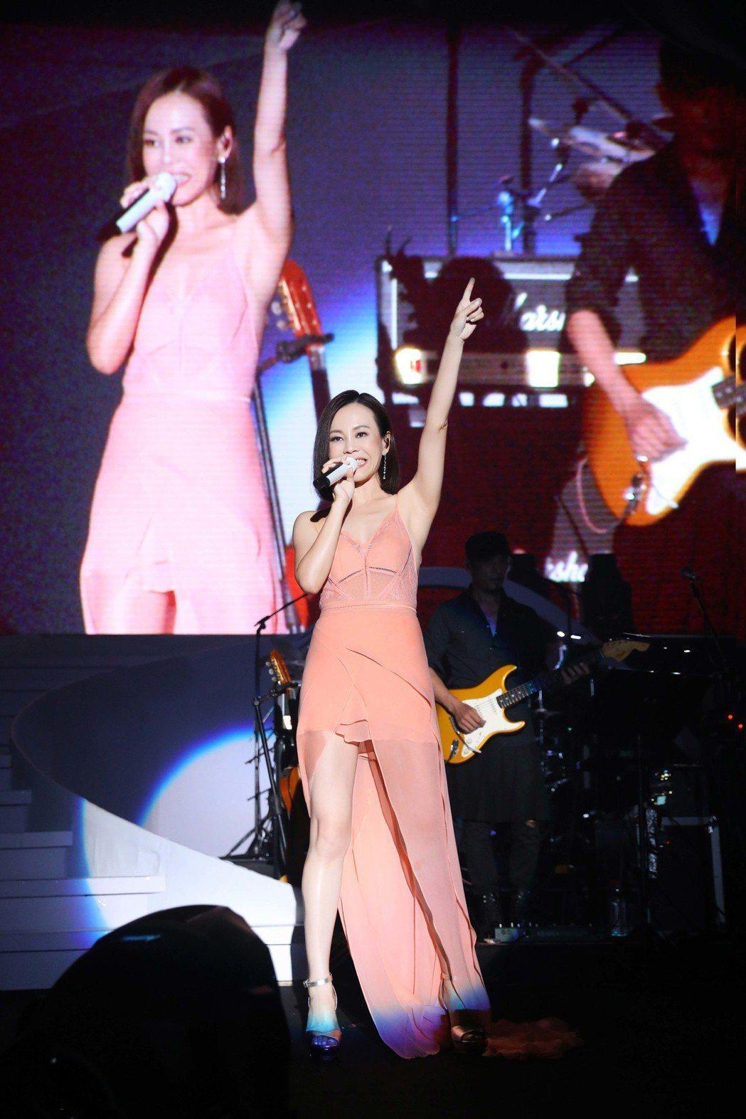 彭佳慧穿著粉色禮服,露出長腿。圖/索尼提供