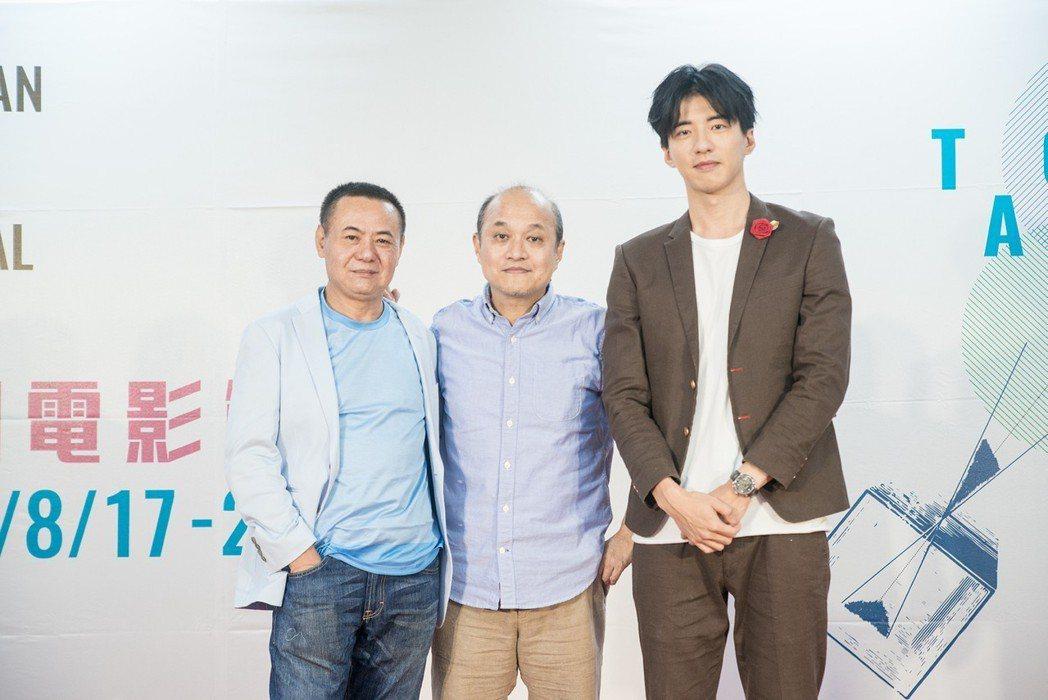 蔡振南(左起)、鄭文堂以及傅孟柏出席桃園電影節記者會。圖/桃園電影節提供