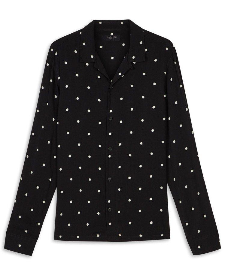 AllSaints Kuta 圓點長袖襯衫,約4,900元。圖/AllSaint...