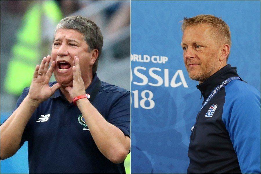 領軍創造驚奇的冰島總教練霍爾格利姆森(右),以及被球迷戲稱為「洪金寶」的巴拿馬教...