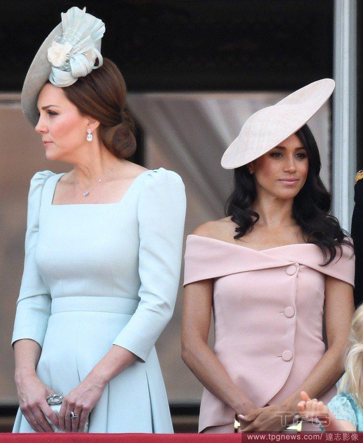 英國皇室妯娌凱特和梅根的置裝費用,據傳相距懸殊。圖/達志影像