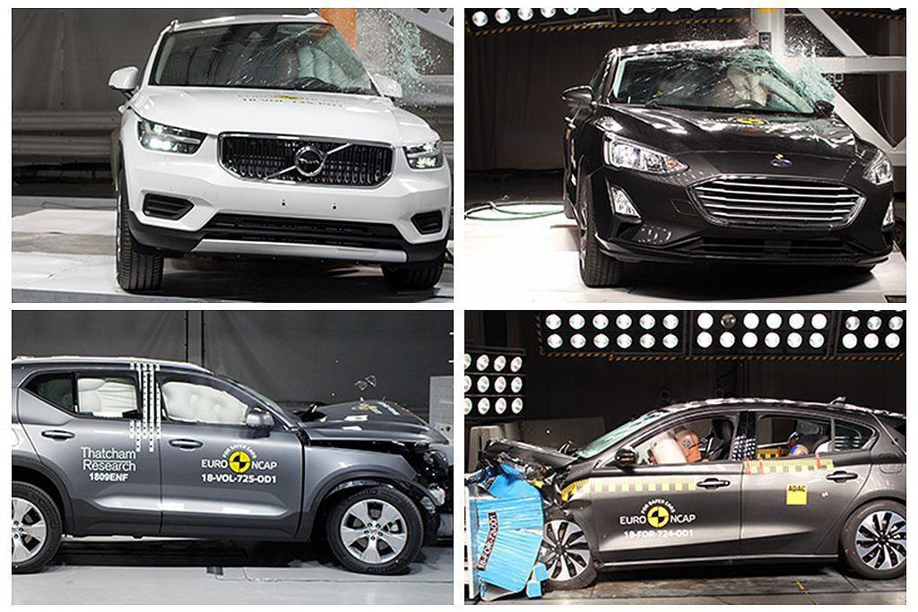 Volvo XC40以及Ford Focus這兩款即將導入台灣的話題新車,歐盟Euro NCAP的新車撞擊測試結果當然非看不可。 圖/Euro NCAP提供