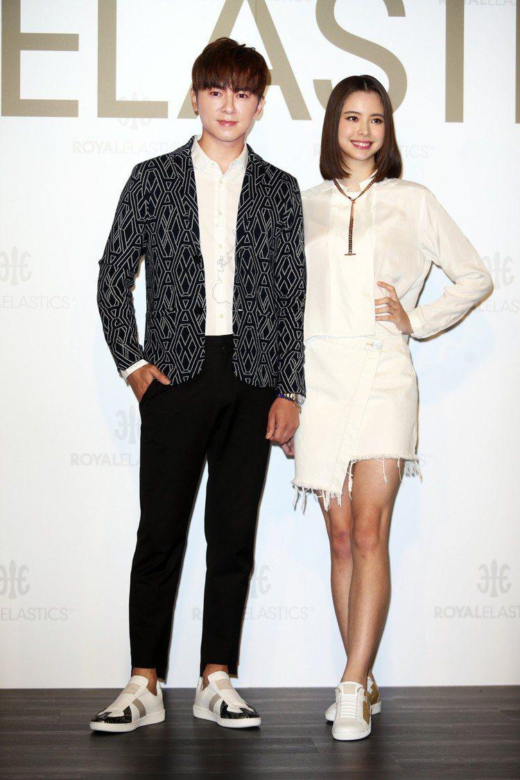 李國毅(左)與名模金凱德(右)出席Royal Elastic新鞋發表活動。圖/記...