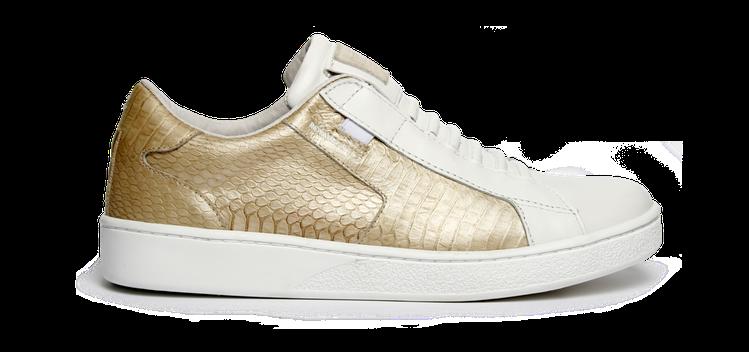 Royal Elastics Prince Albert系列白金蛇腹皮壓紋款鞋,...