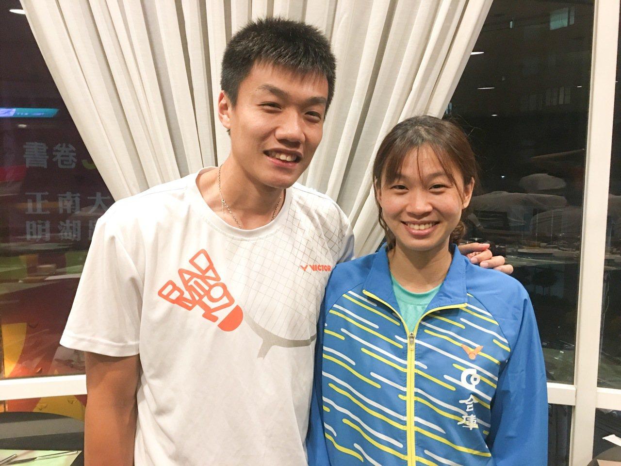 林家佑(左)、許雅晴上月完婚,成為合庫羽球隊首對夫妻檔。 記者曾思儒/攝影