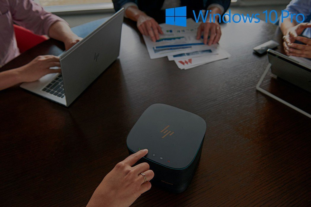 Elite Slice可成為會議系統外,更內建Windows 10專業版裝置可針...