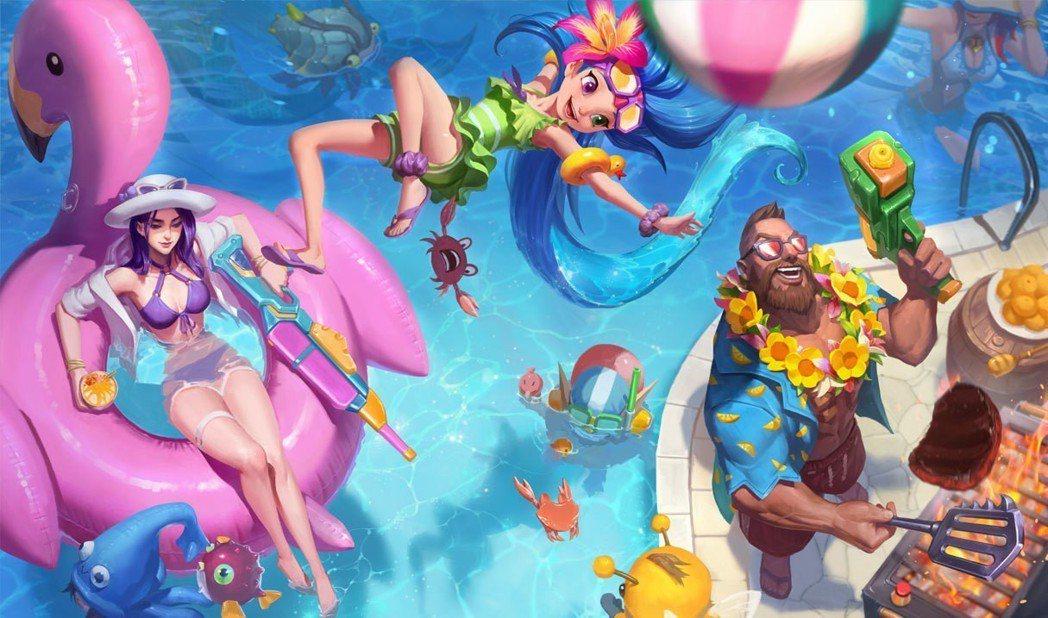 泳池狂歡美術圖。圖/截自Surrender20