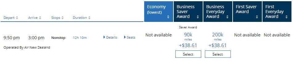 使用聯合航空網頁,查詢紐西蘭航空的哩程機位,確認有機位後,就可以打電話給維珍大西...