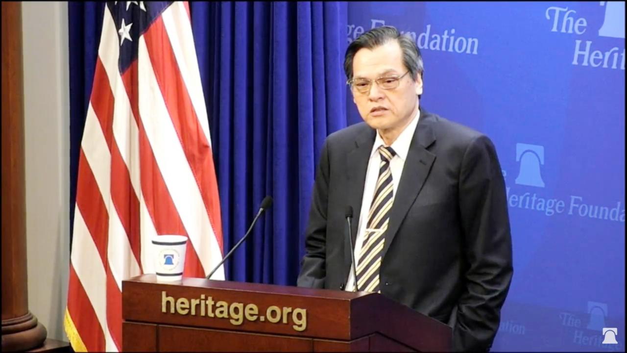 陸委會主委陳明通昨在美國傳統基金會舉辦的兩岸關係研討會發表演講。圖/陸委會提供