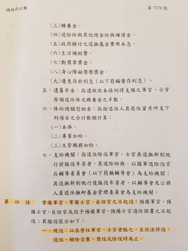 國防部發言人陳中吉表示,依據修正通過陸海空軍軍官士官服役條例部分條文第4條內容(...