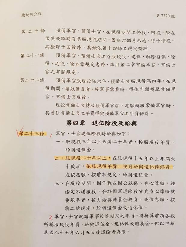 國防部發言人陳中吉表示,依據修正通過陸海空軍軍官士官服役條例部分條文第23條規定...
