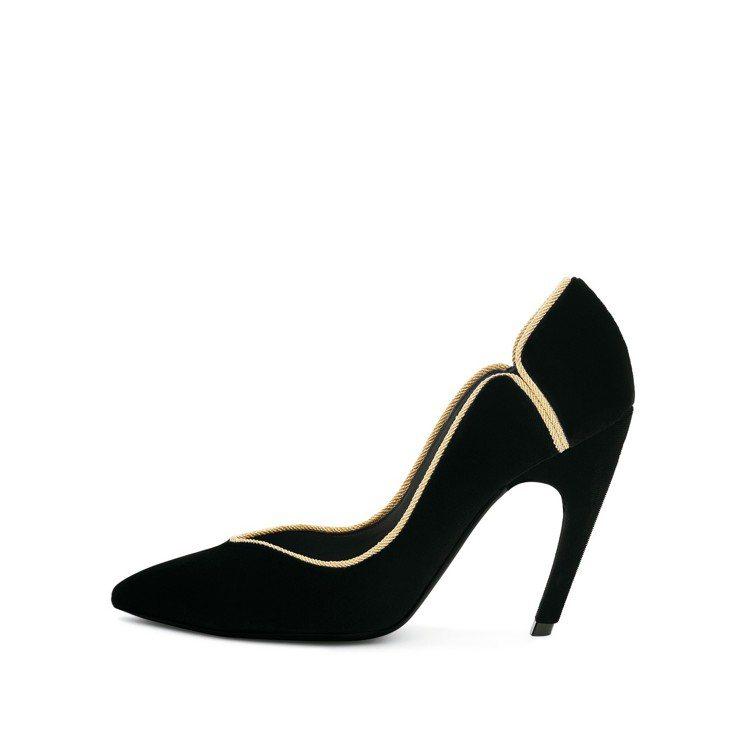 Roger Vivier金色滾邊裝飾高跟鞋,34,200元。圖/迪生提供