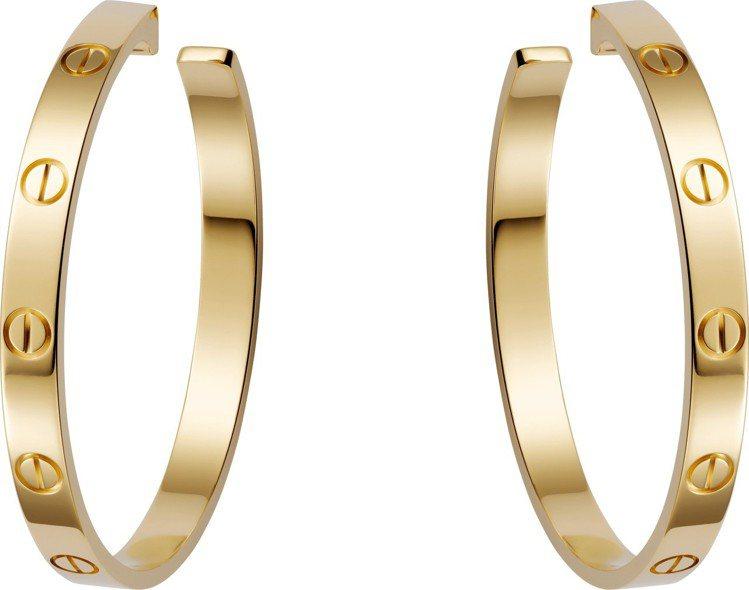 卡地亞LOVE黃K金耳環,11萬4,000元。圖/卡地亞提供