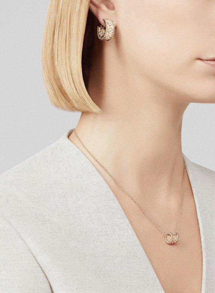 梵克雅寶 Perlée四葉圖案環狀耳環,玫瑰金鑲嵌DEF、IF至VVS級鑽石,4...