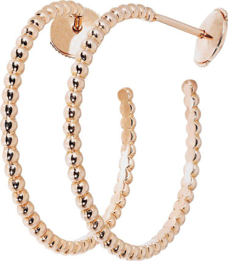 梵克雅寶 Perlée環狀耳環,玫瑰金小型款式,88,000元。圖/梵克雅寶提供