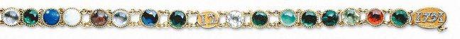 瑪麗路易皇后的密語手鍊,黃金鑲嵌鑽石和各種寶石。受藏頭詩啟發,用代表寶石的首位字...