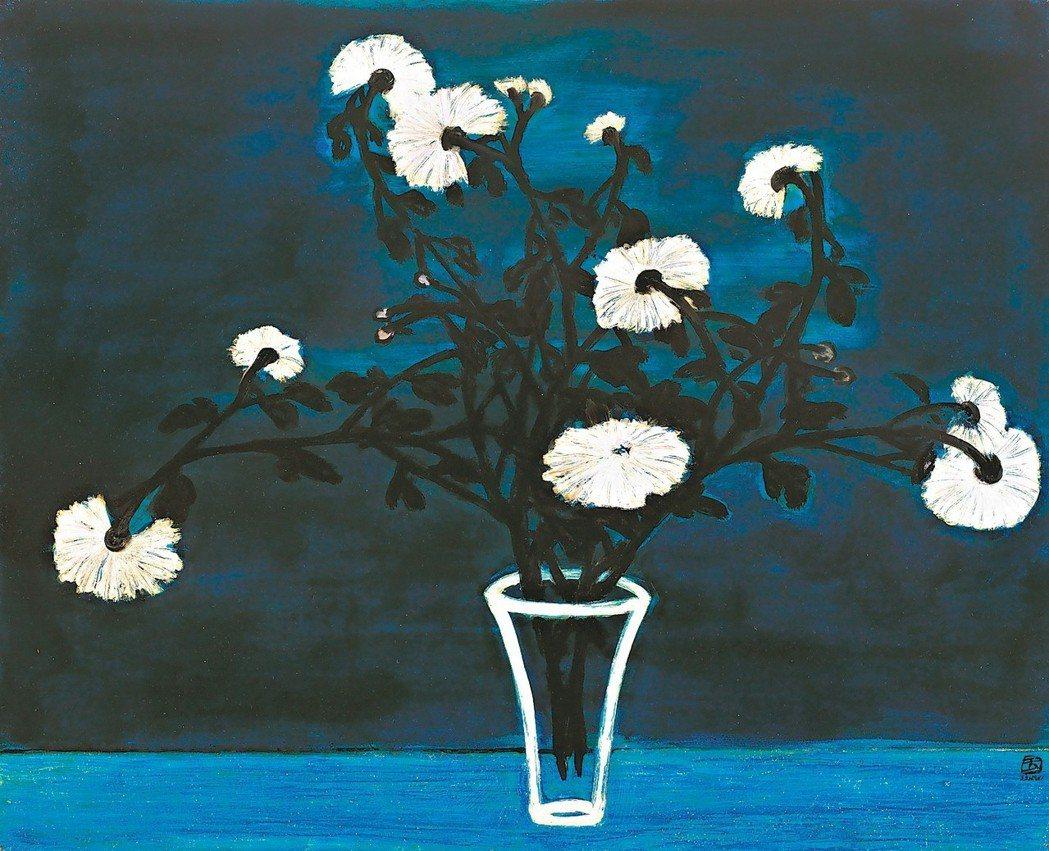 2015年5月香港佳士得常玉1950年代作品《藍色辰星 (菊花與玻璃瓶)》成交額...