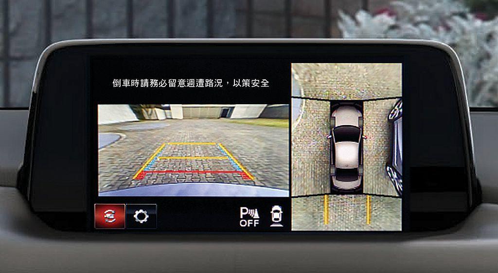 運用車頭、車側及車尾攝影機,協助駕駛人在低速移動時掌握車輛周遭視野。 圖/Maz...